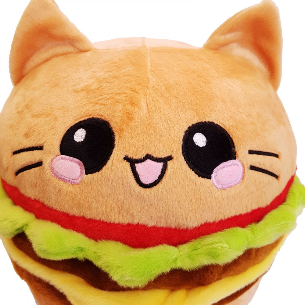Burger Cat Emoticon Pillow Cheeseburger