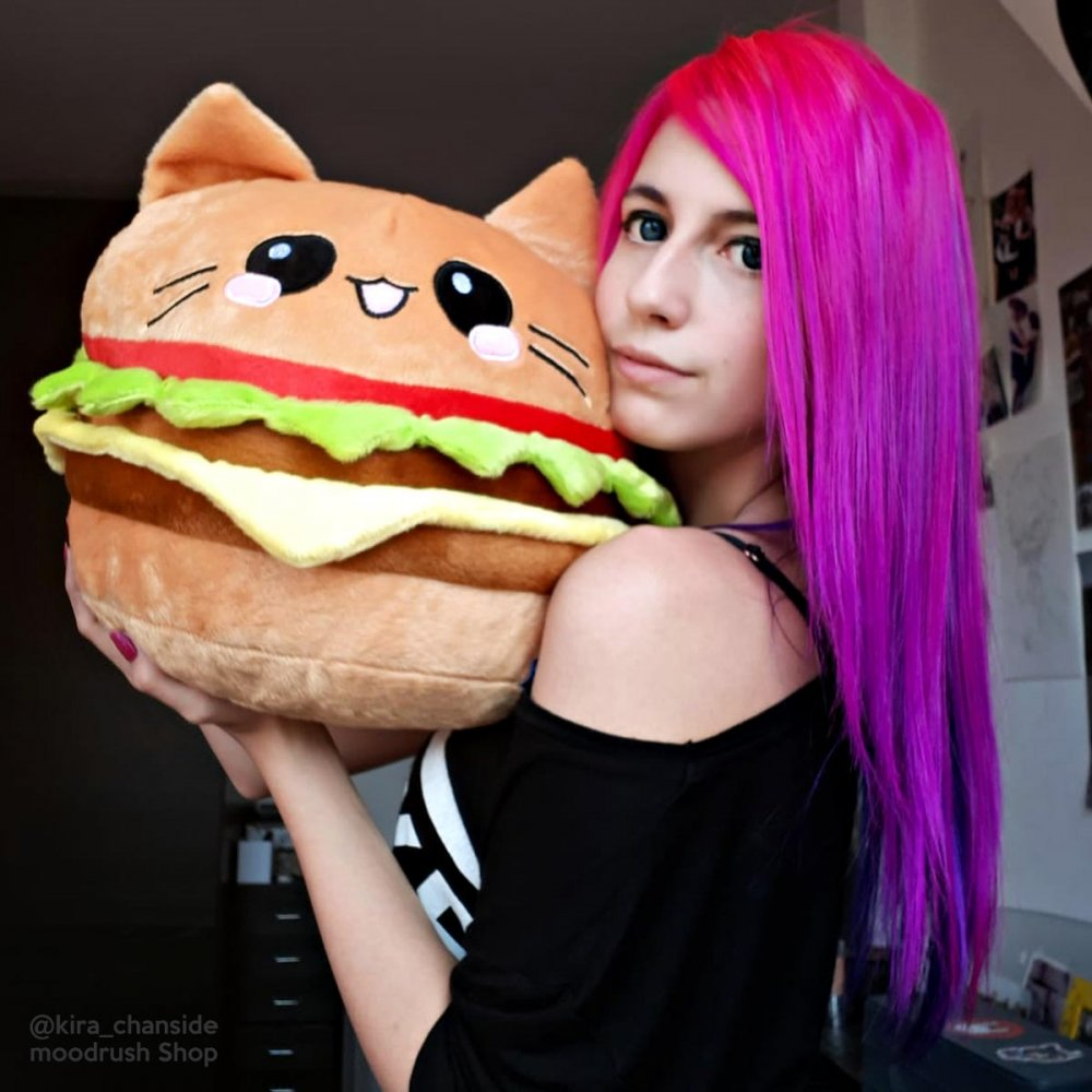Burger Pillow Cat Emoticon Cute Girl Pink Hair