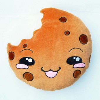 Cookie Pillow Chocolate Chip Plush Toy Cake Cushion Smiley
