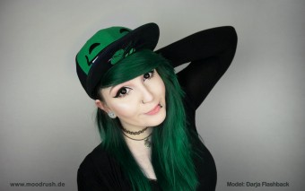 Cute Scene Girl Cap Green Hair