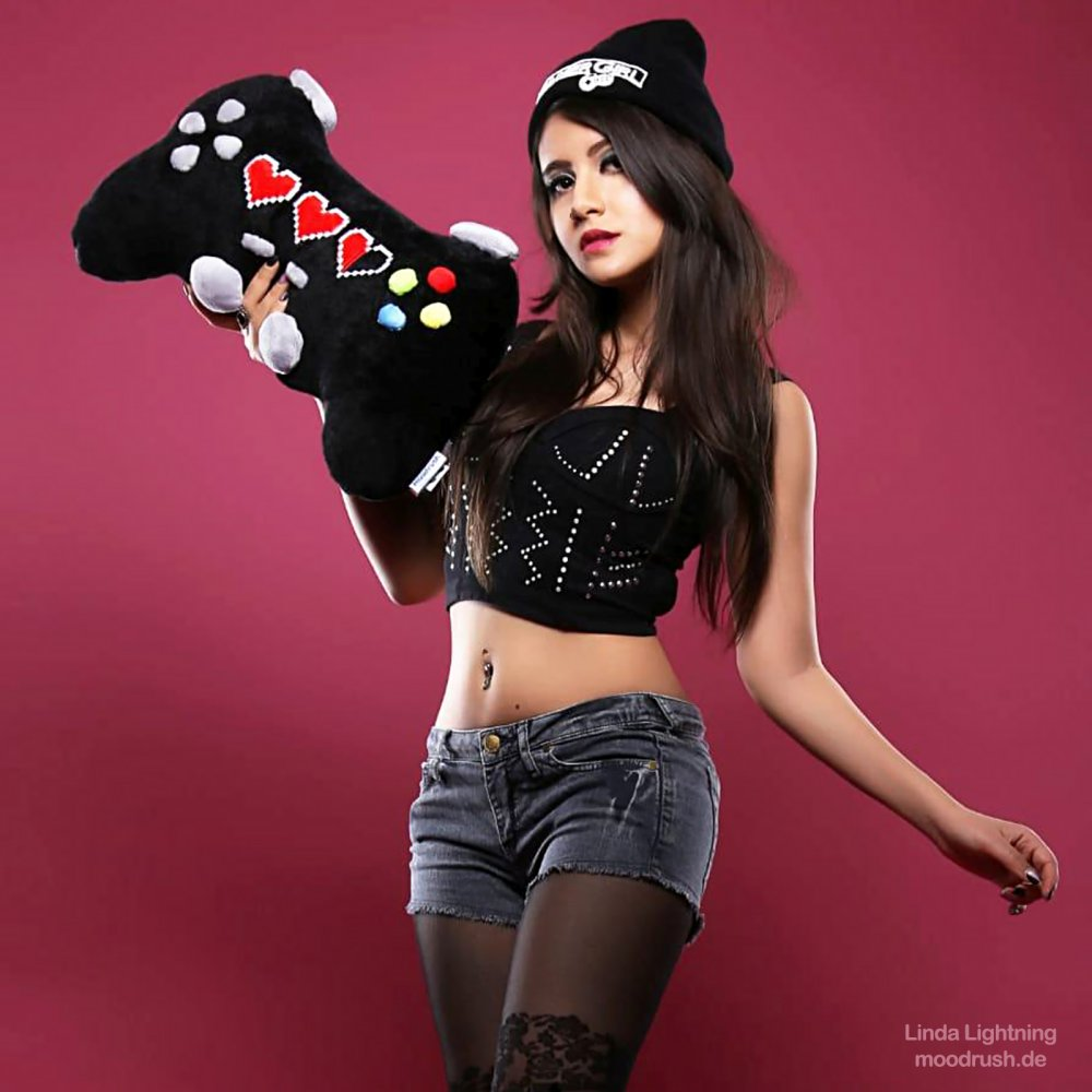 Gamer Girl Controller Photo Gaming Gamepad Pillow Plush Toy