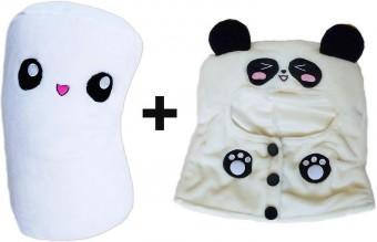 Marshmallow Panda Hoodie Plush Toy Marsh Mallow Cushion Smiley Pillow