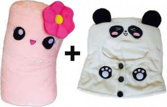 Panda Hoodie Pink throw pillow round smiley emoticon plush cotton