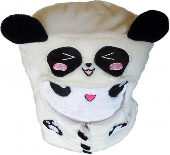 Panda Hoodie White throw pillow round smiley emoticon plush cotton