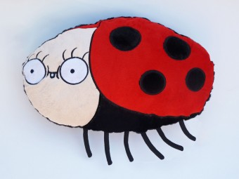 Smiley Bug Plush Pillow Cushion Shop  Beetle Dirty White Paint