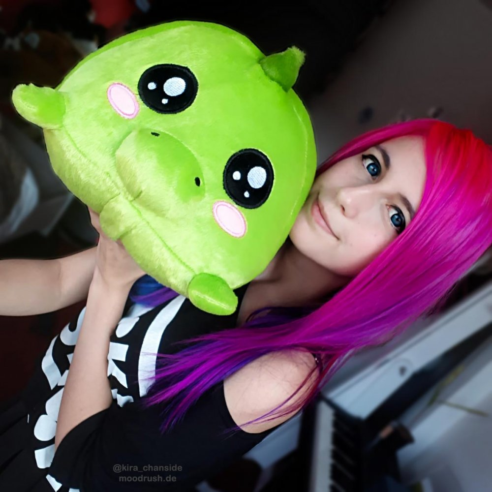 Cute Girl Pink Hair Dino Plush Toy