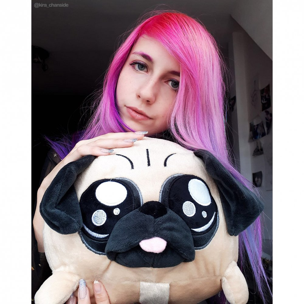 Girl with Pug toy pink hair
