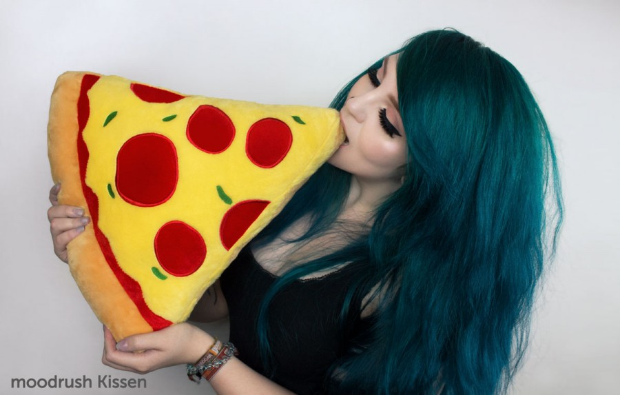 Pizza Pillow Cute Girl Scene Blue Hair