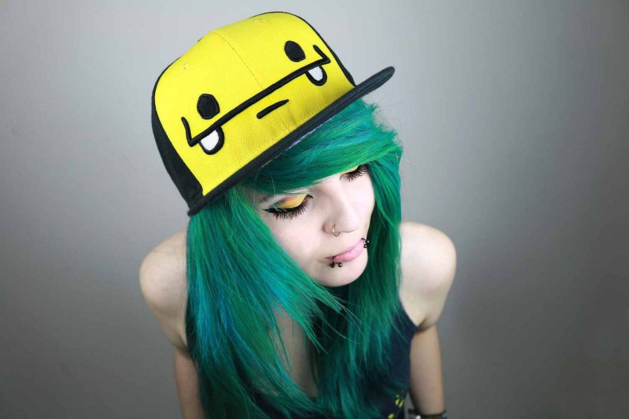Pretty Girls With Blue Hair Cute Girl Cap Green Hair