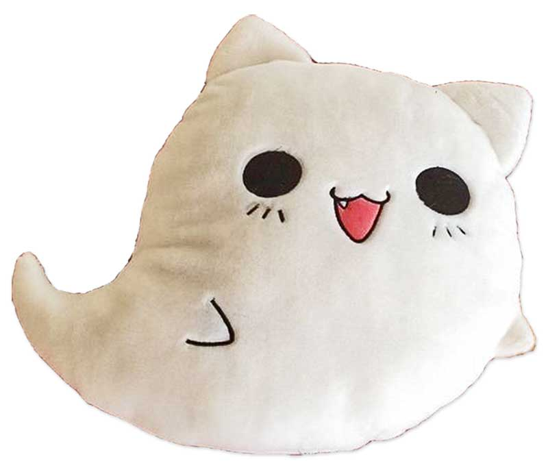 moodrush ghost cat emoji pillow plush cat nemu neko shop. Black Bedroom Furniture Sets. Home Design Ideas